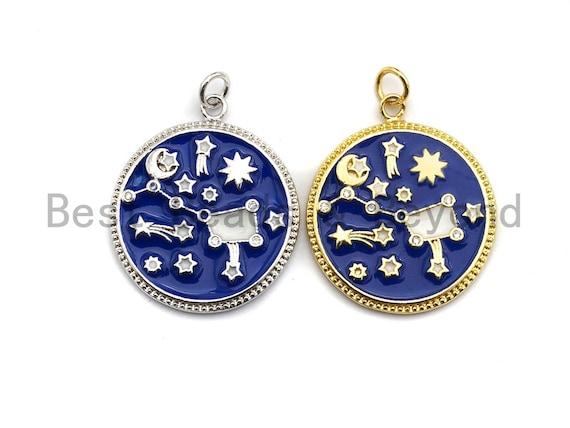 Royal Blue White Enamel Moon Star Plough Pendant, Enamel Pendant,Enamel Round Pendant, Oil Drop Jewelry Findings, 24x28mm,sku#Z365