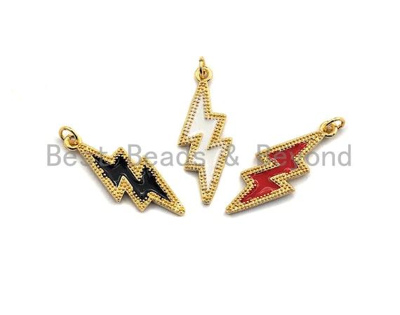 Enamel Black/White/Red Lightning Gold Pendant,CZ Micro Pave Oil Drop pendant,Enamel pendant,Enamel Jewelry,10x26mm,sku#Z667