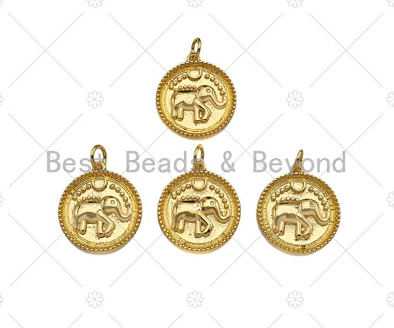 Dainty Gold Embossmen Elephant On Round Coin Shape Charms, Dainty Charms, Gold Elephant Pendant, Necklace Charms, 17x19mm, Sku#F1325