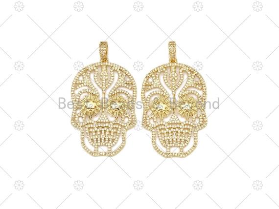 CZ Micro Pave Hollow Out Skull Shape Pendant, 18k Gold Filled Large Skull Charm, Necklace Bracelet Charm Pendant,30x48mm,Sku#L635