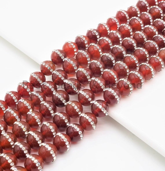 """Etsy Exclusive Mystic Quality Red Carnelian With Rhinestone Inlaid Beads,6mm/8mm/10mm/12mm, Red Carnelian Beads,15.5"""" Full Strand, SKU#V32"""