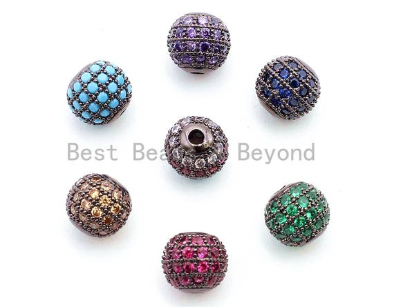 6mm,8mm,10mm CZ Micro Pave Round Ball Beads, Rainbow/Green/Turquoise/Fuchsia/Blue/Purple/Bronze Color CZ Ball Space Beads,1/2pcs,sku#G308