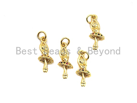8x19mm CZ Colorful Micro Pave Ballet Dancer Pendant Sku#F830 Gold plated Dancing Girl Pave Pendant