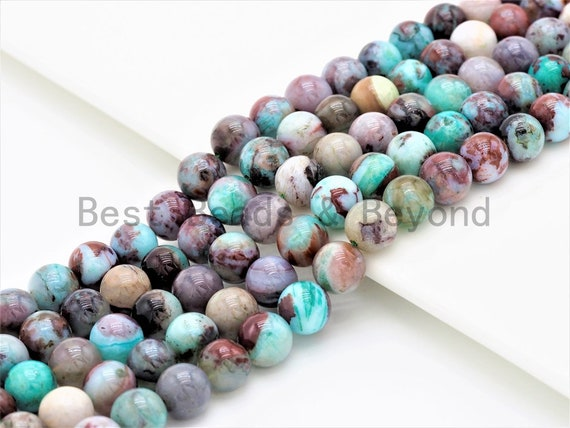 Quality Natural Green Brown Blue Color Jade Round Smooth Beads,6mm/8mm/10mm/12mm beads,Mixed Color Jade Beads, 15.5inch strand, SKU#U334