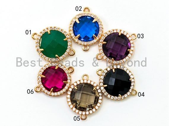 Round Bezel Cnnector with Faceted Glass, Gold Plated CZ Micro Pave Frame Connector, Green/Cobalt/Purple/Black/Smoke/Red, 14x19mm, sku#A76