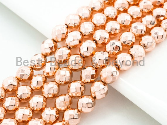 2018 New Color-Light Rose Gold Color Hematite-2/3/4/6/8/10/12mm Round Faceted Gemstone Beads-15.5 inch FULL strand-Rose Gold Beads-SKU#S73