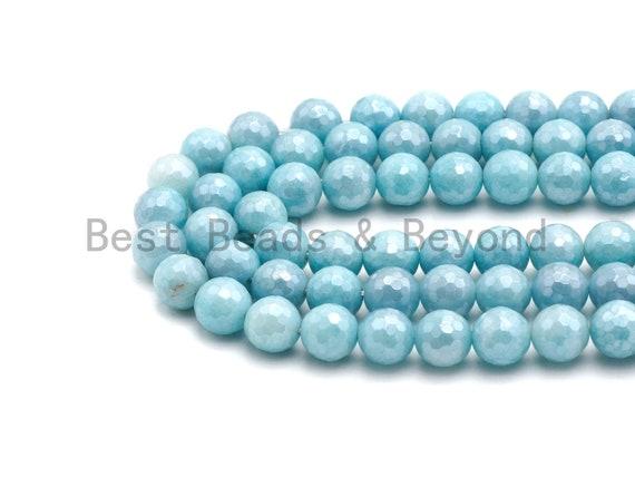 Mystic Plated Ice Blue Jade Round Faceted Beads, 8mm/10mm Aquamarine Color Jade Gemstone Beads, 15.5inch strand, SKU#U435