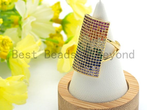 Colorful CZ Micro Pave  Rectangle Shape Open Ring, Cubic Zirconia Gold Ring, Adjustable Ring, Statement Ring, 27x20x17mm,sku#X62