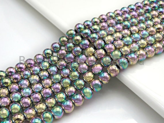 NEW Rainbow Color Natural Hematite Silver Round Smooth Beads, 6mm/8mm/10mm, Hematite Beads,15.5inch strand, sku#S123
