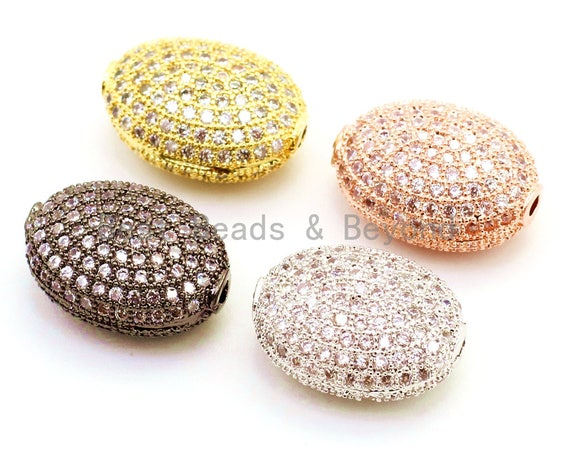 14x11mm CZ Micro Pave Flat Oval Spacer Beads with Clear Crystal for Bracelet/Necklace, Cubic Zirconia Beads, Bracelet Charms,1/2pcs, sku#G61