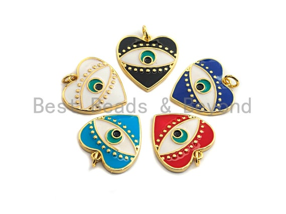 Pave CZ Enamel Heart With Evil Eye Pendant, Enamel Pendant,Enamel Heart Pendant, Oil Drop jewelry Findings,19x20mm,sku#F933