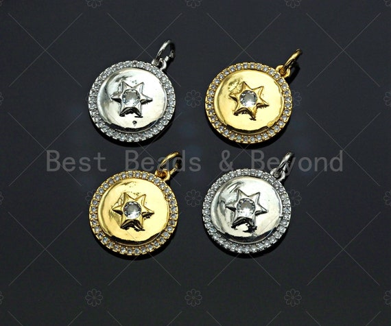 CZ Micro Pave Star On Round Coin Shape Pendant, Gold/Silver Plated Jewelry, Necklace Bracelet Charm Pendant, 14x16mm,sku#F1214