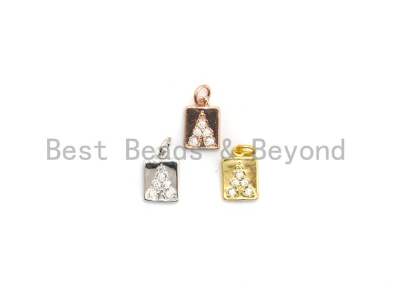PRE-SELLING CZ Micro Pave Rectangle With Triangle Pendant, Cubic Zirconia Pendant, Silver/Gold/Rose Gold/Black Tone, 7x10mm, Sku#Y186