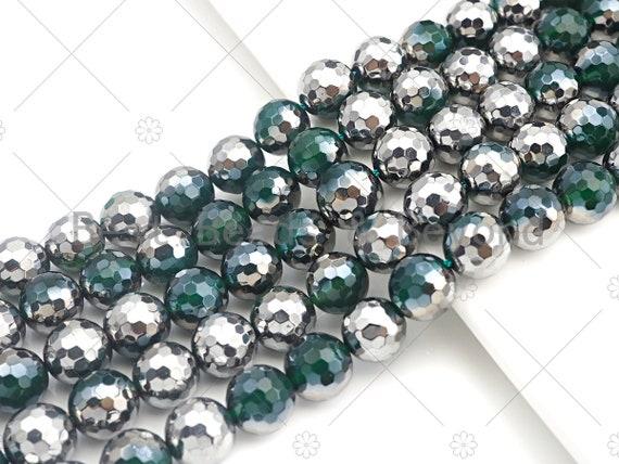 "Top Quality Half Silver Plated Green Agate Beads, 8mm/10mm/12mm Round Faceted Green Agate beads, 15.5"" Full Strand, sku#UA96"