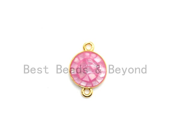 100% Natural Pink Shell Round Connector with Gold/Silver Plated edging, Pink Shell Connector, Sea Shell Jewelry, 10x15mm,SKU#Z281