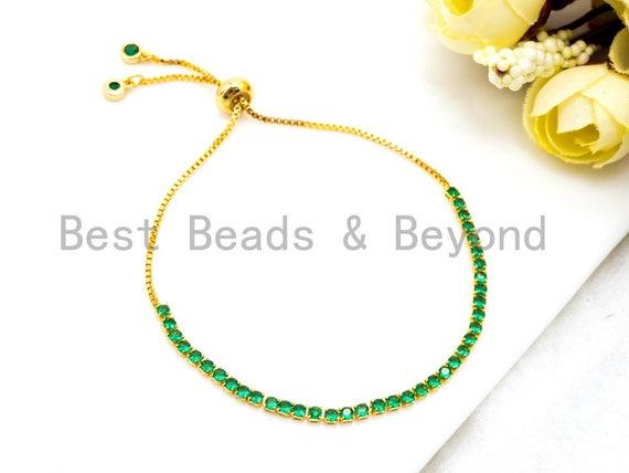 New Style Adjustable Bracelet, Green CZ Pave Stud Bracelet Gold/Silver/Rose Gold/Gunmetal, Bridal Bracelet Jewelry,SKU#P45