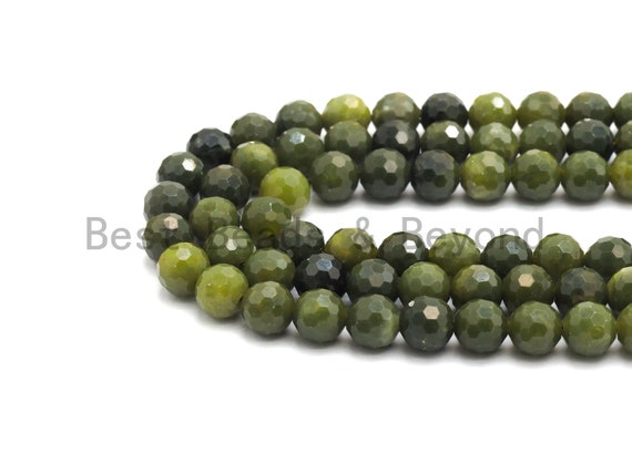 High Quality Olive Color Jade beads,6mm/8mm Faceted Round Olive Jade beads, Green Gemstone Beads, 15.5inch strand, SKU#U430