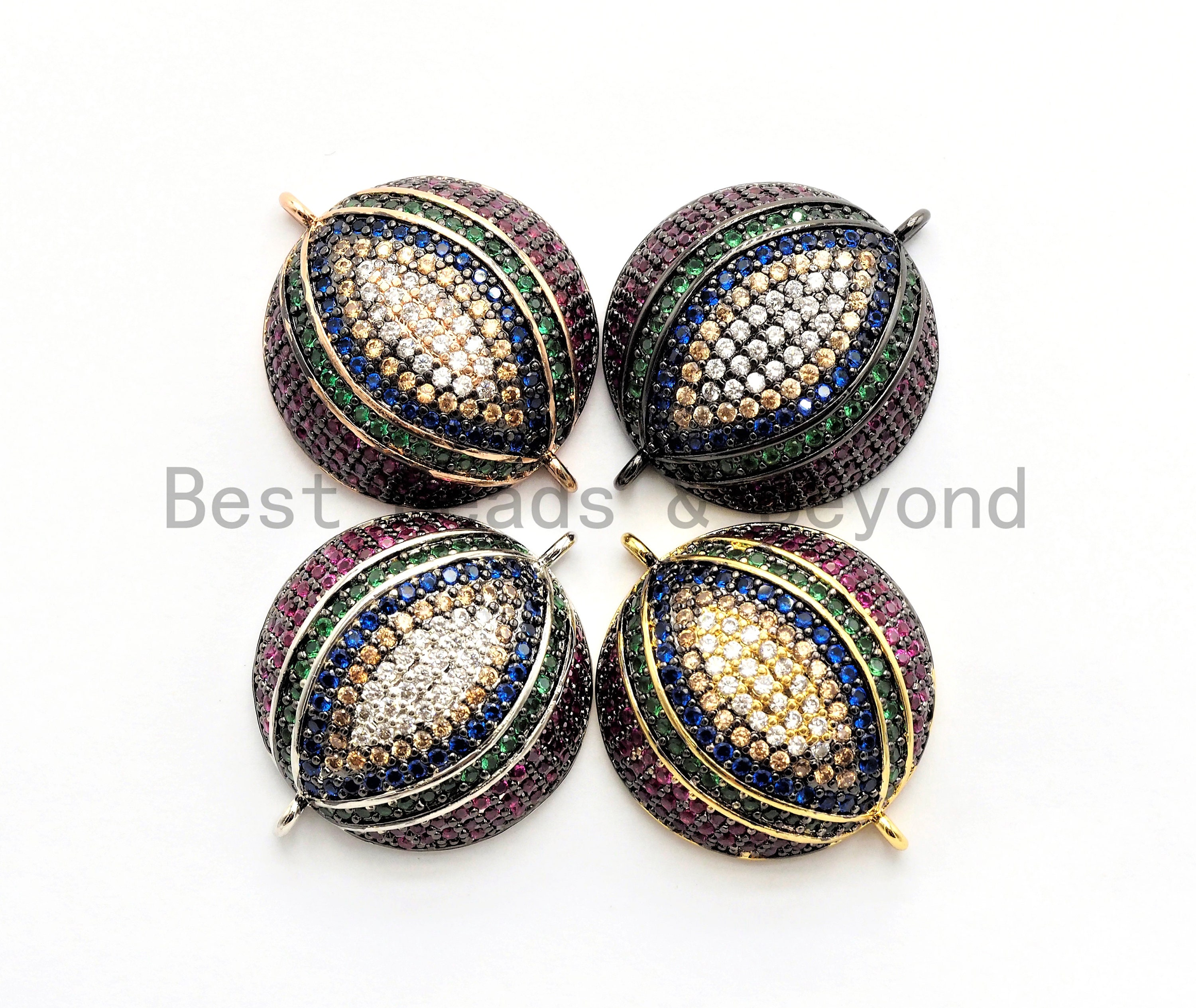Large Cz Micro Multi Color Dome Evil Eyes Connector Half