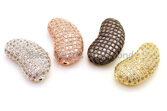 CZ Micro Pave Bean Shape Spacer Beads with Clear Crystal for Bracelet/Necklace, Cubic Zirconia Beads, 23x13x8mm, sku#G62
