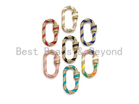 PRESELLING Colorful Enamel Pave Oval Shape Clasp, Gold Carabiner Clasp, 17x32mm, sku#H215