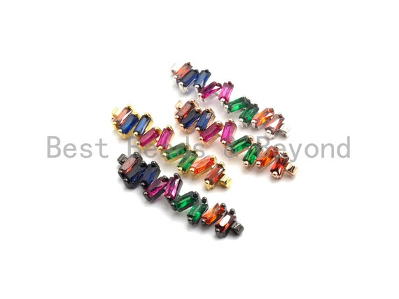 PRE-SELLING Rainbow CZ Micro Pave Wavy Line Connector Baguette cz Cluster, Link Connector, Spacer Connector,8x35mm,sku#E430