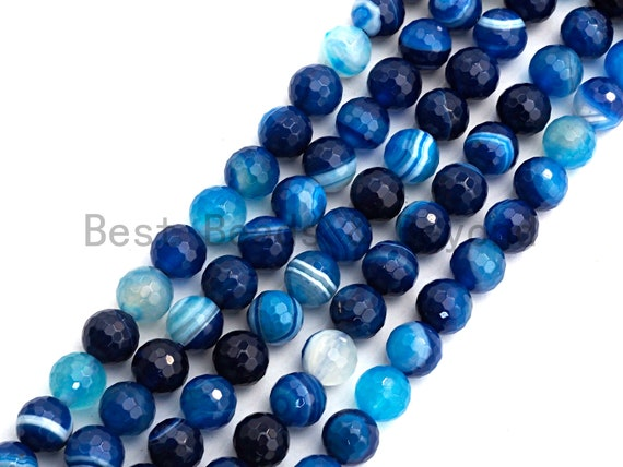 High Quality Faceted Blue Banded Agate beads, 6mm/8mm/10mm/12mm, Blue Agate Gemstone beads, Natural Agate Beads, 15.5inch strand, SKU#U445