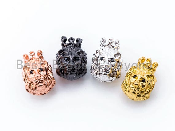CZ King Crown Lion Head Spacer Beads, Micro Pave Cubic Zirconia Charm Beads,14x10mm, Large Hole Beads, Men's Jewelry Findings, sku#G235
