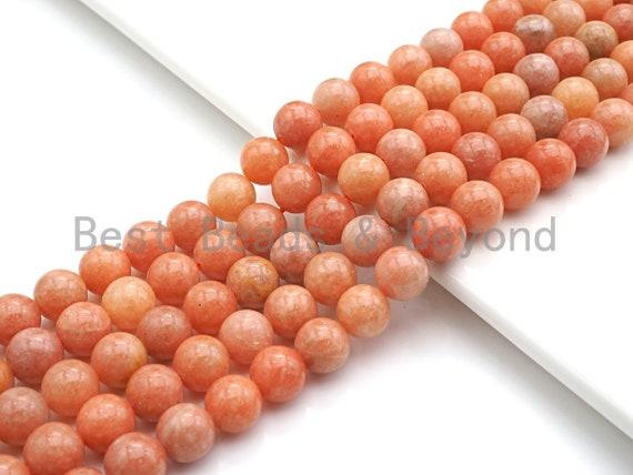 NEW STONE!! High Quality Natural Orange Calcite Beads, 6mm/8mm/10mm/12mm/14mm Round Smooth Orange Beads, 15.5 Full Strand, sku#U804