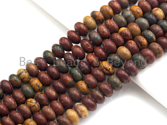 "2mm Large Hole Natural Piscasso Jasper Beads, Rondelle Smooth 6x10mm/5x8mm, 8"" Long Strands, sku#U716"