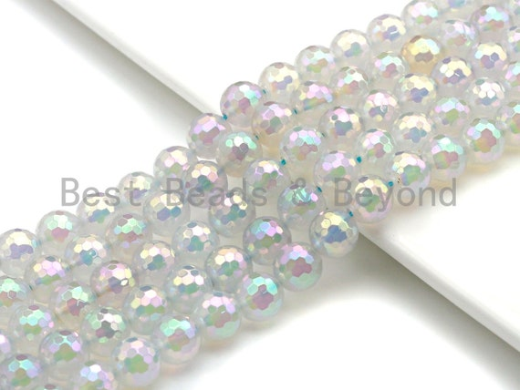 """Mystic Plated Rainbow White Agate Beads, 6mm/8mm/10mm/12mm Round Faceted Agate Beads, 15.5"""" Full Strand, Sku#UA59"""