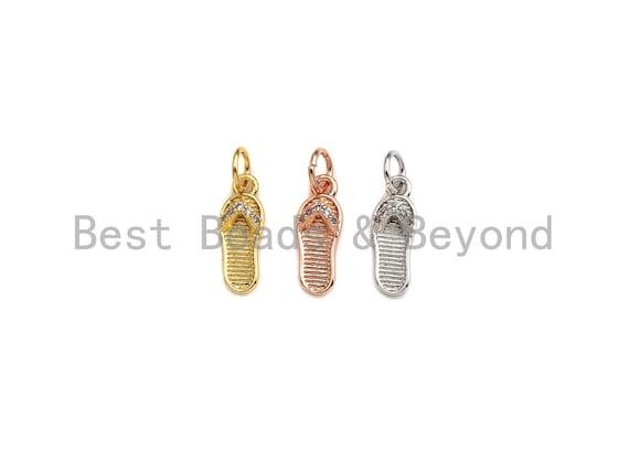 PRESEELING CZ Micro Pave Flip Flops Pendant, Cubic Zirconia Slipper Charm, Gold/Silver/Rose Gold, 5x14mm, SKU#Y238