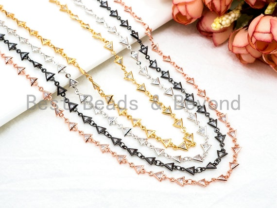 1 Foot/Yard-CZ Beaded Chain-5mm Triangle CZ Beads-Gold Silver Rose Gold Gunmetal Plated Bezel Chain,Bezel Connector Beads,sku#E366