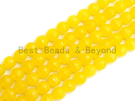Yellow Jade Round Faceted Beads, 6mm/8mm/10mm/12mm/14mm Yellow Jade Gemstone Beads, 15.5inch strand, SKU#U439