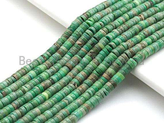 """Natural Green Opal Heshi Gemstone Beads, Beads size 4x1.5mm, Green Opal Beads, 15.5"""" Full Strands, sku#U621"""