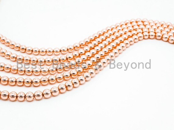 2018 NEW Trend Color Natural Light Rose Gold Hematite-2/3/4/6/8/10/12mm Round Smooth beads-15inch FULL strand- Light Rose Gold Beads-Sku#S72