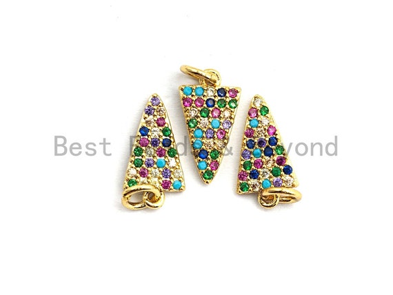 CZ Colorful Micro Pave Triangle Pendant, Triangle Shaped Pave Pendant, Gold plated, 8x14mm, Sku#F755