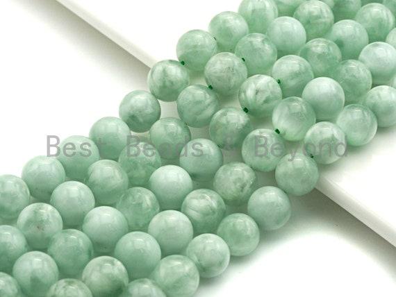 "Natural Green Angelite Beads, 6mm/8mm/10mm/12mm Round Smooth Gemstone Beads, Green Angelite, 15.5""Full Strand, sku#U617"