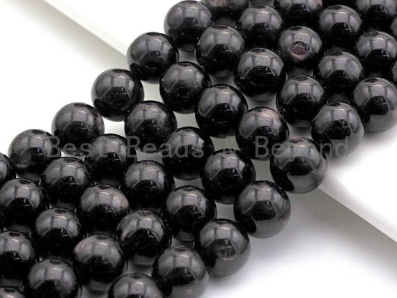 "Quality Natural Black Phlogopite Beads, 6mm/8mm/10mm Round Smooth, Natural Black Gemstone, 15.5"" Full Strand, sku#U625"