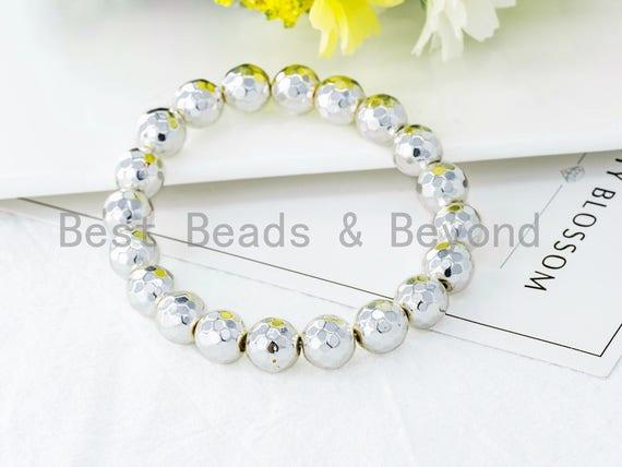 Silver Natural Hematite Stretch Bracelet,8mm/10mm/12mm Gemstone Beaded Bracelet,Gemstone Elastic bracelet,SKU#S61