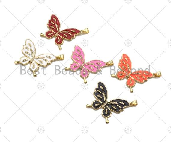 Enamel Colorful Butterfly Shape Charm,CZ Micro Pave Enamel Pendant,Enamel Jewelry,24x33mm,Sku#LK273