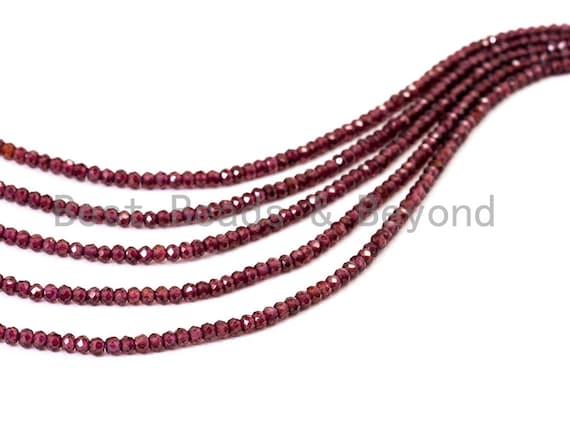 "Top Quality Faceted Brazilian Garnet Rondelle Beads, 2x3mm/2x4mm Gemstones Beads,Natural Brazilian Garnet Beads,15.5"" Full Strand,SKU#U107"