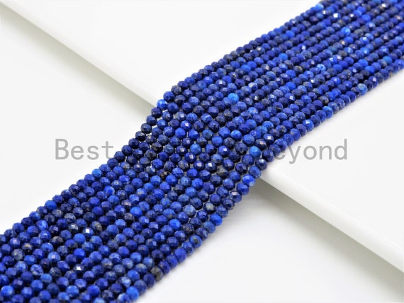 High Quality Natural Lapis Faceted Rondelle Beads,2x3mm beads, Lapis Gemstone Beads, 15.5inch strand, SKU#U373