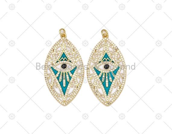 CZ Micro Pave Turquoise Enamel Evil Eye On Oval Leaf Shape Pendant, 18K Gold Filled Evil Eye Charm, Necklace Pendant,22x42mm, Sku#L631
