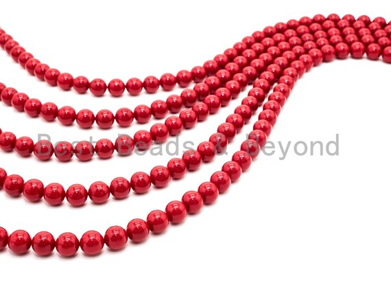 6mm/8mm/10mm/12mm High Quality Natural Mother of Pearl Beads, Red Round Smooth Gemstone Beads, Red Pearl Shell 15inch full strand, SKU#U44