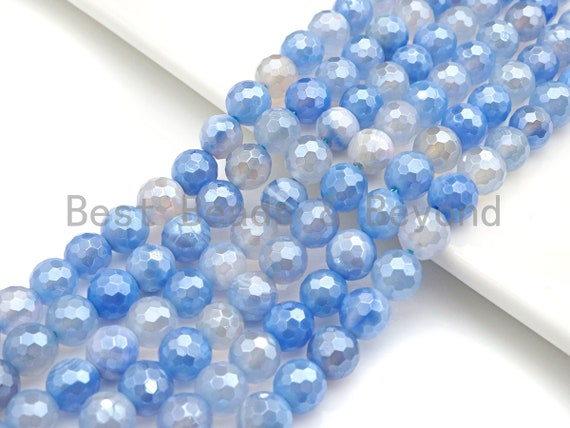 "Gorgeous Mystic Plated Natural Blue Aagte, 6mm/8mm/10mm/12mm round faceted bead, Blue Agate beads, 15.5"" full strand, sku#U596"
