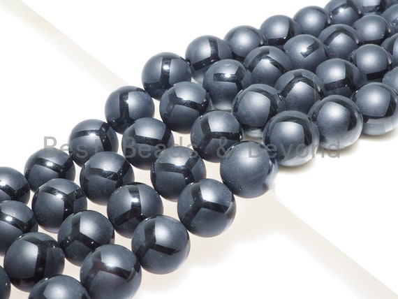 Black Onyx Matte Round Smooth with Football line Beads, 6mm/8mm/10mm/12mm Round Matte onyx, Patterned Onyx, 15.5inch strand, SKU#V16