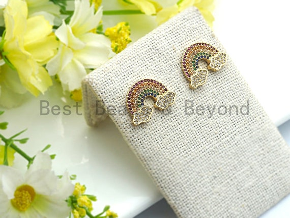 Colorful CZ Micro Pave Rainbow With Cloud Stud Earring ,Gold plated, Pave CZ Earring, 13x19mm,sku#J93