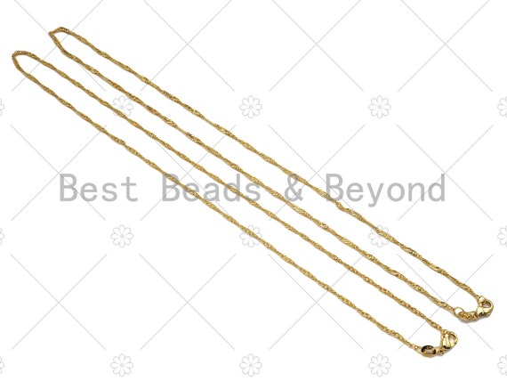 24K Gold Finished Gold Sigapore Chain Necklace, 1.6mm Sigapore Chain Necklace Ready to wear w/Lobster Clasp, 17.5 inch,sku#JD05