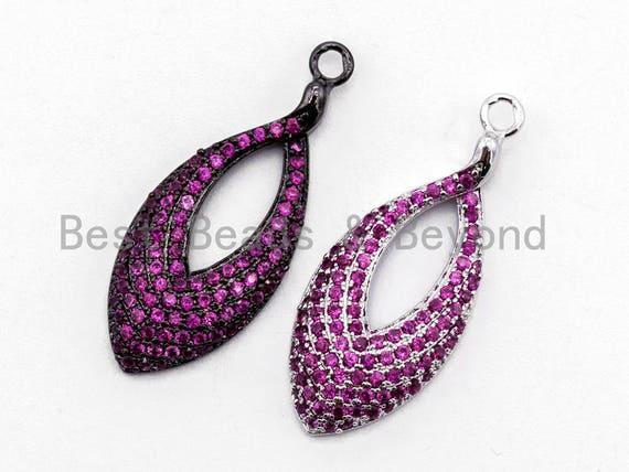 Fuchsia CZ Micro Pave Teardrop Go-Go Pendant, Cubic Zirconia Oval Leaf Pendant for Necklace Bracelet Earrings Making, 13x31mm,sku#Y46