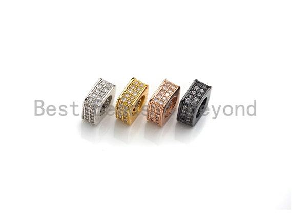 CZ Pave Big Hole beads, Cubic Zirconia Square Shape Spacer Beads, European Large hole Bead, 3.8x8mm, sku#Z877